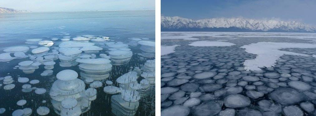 Пузыри на льду Байкала